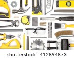 set of carpentry tools on white ... | Shutterstock . vector #412894873