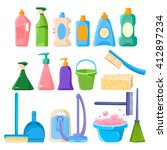 household cleaning equipment... | Shutterstock .eps vector #412897234