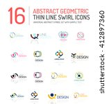 collection of linear abstract... | Shutterstock .eps vector #412897360