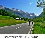 austria alps view of a cyclist... | Shutterstock . vector #412898053