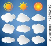 cloud vector icon set white... | Shutterstock .eps vector #412902460