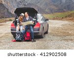 travelers by car in the...   Shutterstock . vector #412902508