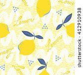 seamless pattern with lemon... | Shutterstock .eps vector #412910938