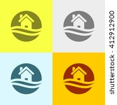 home icon on four different... | Shutterstock .eps vector #412912900