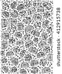 pattern with hand drawn pirate ... | Shutterstock .eps vector #412915738