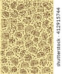pattern with hand drawn pirate ... | Shutterstock .eps vector #412915744