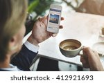 businessman relax coffee break... | Shutterstock . vector #412921693