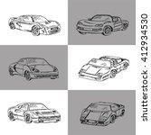 vector set of sport  cars.hand... | Shutterstock .eps vector #412934530