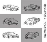 vector set of sport  cars.hand... | Shutterstock .eps vector #412934530