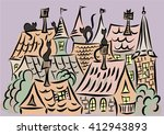 cats on the roofs  town...   Shutterstock .eps vector #412943893