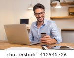 young happy businessman smiling ... | Shutterstock . vector #412945726