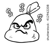 black and white angry money bag ... | Shutterstock . vector #412962208