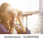 girl adventure hangout... | Shutterstock . vector #413009308