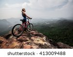 young lady with bicycle... | Shutterstock . vector #413009488