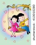 cute couple  on a swing | Shutterstock .eps vector #413010280