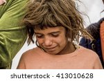 syrian refugees who escaped... | Shutterstock . vector #413010628