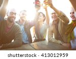 diverse people friends hanging... | Shutterstock . vector #413012959