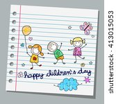 notebook paper happy children...   Shutterstock .eps vector #413015053