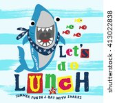 funny shark with typo. print... | Shutterstock .eps vector #413022838