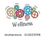 gears and wellness mechanism | Shutterstock .eps vector #413025598