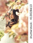 beautiful small girl in white... | Shutterstock . vector #413028613