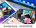 internet communication... | Shutterstock . vector #413035528