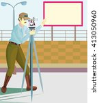 land surveyor on duty  all... | Shutterstock .eps vector #413050960