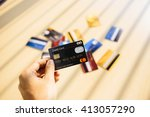 credit card concept with window ... | Shutterstock . vector #413057290