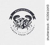 seafood   poster  stamp  badge  ... | Shutterstock .eps vector #413061643