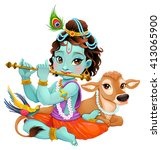 baby krishna with sacred cow.... | Shutterstock .eps vector #413065900