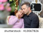 distressed elderly lady leaning ... | Shutterstock . vector #413067826