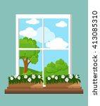window in the flat style... | Shutterstock . vector #413085310