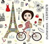 girl with bike in paris... | Shutterstock .eps vector #413093878