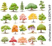 Illustration Of Set Of Tree On...