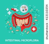 intestinal microflora flat... | Shutterstock .eps vector #413110354