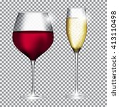glass of champagne and wine on... | Shutterstock .eps vector #413110498
