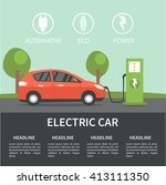 electric car flat infographic... | Shutterstock . vector #413111350