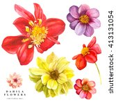 botanical illustration with... | Shutterstock . vector #413131054