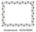 raster frame with cartoon flies. | Shutterstock . vector #413145004