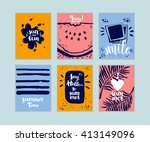 hand drawn set of summer cards  ... | Shutterstock .eps vector #413149096