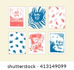 hand drawn set of summer cards  ... | Shutterstock .eps vector #413149099