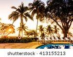 beautiful luxury outdoor... | Shutterstock . vector #413155213