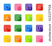line web icon set on colorful...