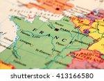 france on atlas world map  | Shutterstock . vector #413166580