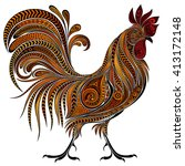 beautiful vector fire cock by... | Shutterstock .eps vector #413172148
