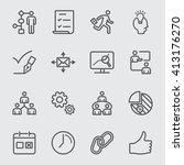 workflow line icon | Shutterstock .eps vector #413176270