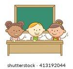 doodle illustration  students... | Shutterstock .eps vector #413192044