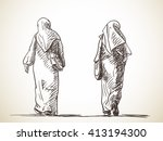 sketch of two muslim women... | Shutterstock .eps vector #413194300