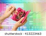 hand holding wallet full of...   Shutterstock . vector #413223463