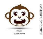 monkey face laugh logo and... | Shutterstock .eps vector #413238613